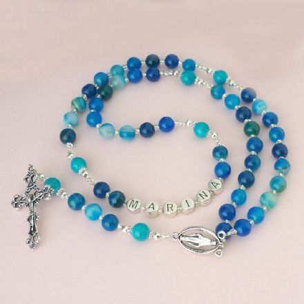 Blue Lines Agate Rosary Beads with Name